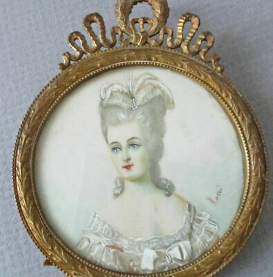 Antique Miniature French BRONZE Frame BOW Wreath Crown w Easel Portrait Painting