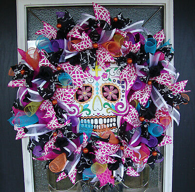 "Huge Colorful 28"" Fluffy and Full Day of the Dead Decor Mesh Front Door Wreath"
