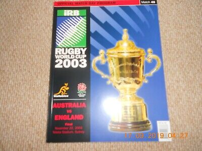 2003 Rugby World Cup Final Programme Australia vs England 22nd Nov 2003 Sydney