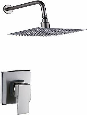 Wall Mounted Ultra-thin Square Rainfall Brushed Nickel Shower Faucet Mixer Tap