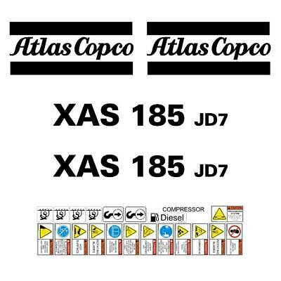 Atlas Copco XAS185 JD7 Decals - Repro Decal Sticker kit