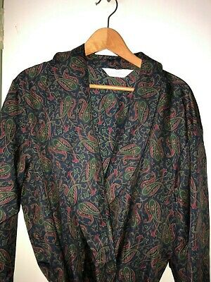 Vintage Silky Dressing Gown Smoking Jacket Paisley Blue Size Xl