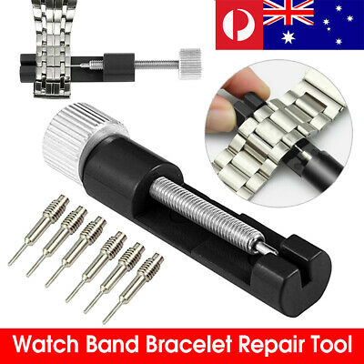 Metal Watch Band Bracelet Adjustable Link Pin Remover Repair Tool+6 Replace Pins