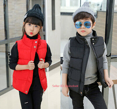 Kids Boys Girls Warm Cotton Down Vest Quilted Jacket Waistcoat Coats Snowsuits