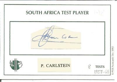 Cricket Autograph Peter Carlstein Former South Africa Player Signed Card Z9938