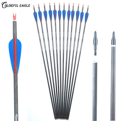 Archery 30inch Carbon Arrows Hunting Spine300/400 for compund/recurve bow Arrow