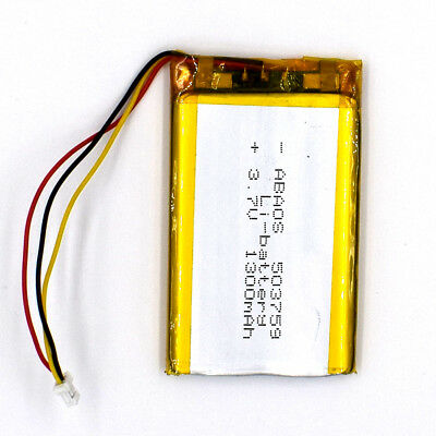 5pcs 3.7V 503759 1300mAh with 3Pin Connecto Rechargeable Battery LiPolymer F GPS