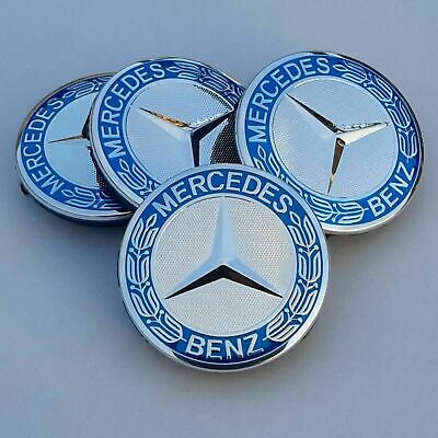 4x Mercedes Benz Alloy Wheel Centre Caps 75mm Badges Blue Hub Emblem - Fits All