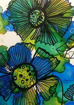 "Alcohol Ink and Pen by Anita. ""In the blue zone"" flowers and leaves"