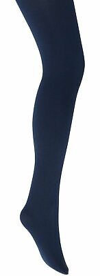 Girls Plain Blue/Navy Winter School Tights Cotton Rich Thick Size 3 To 12 Years