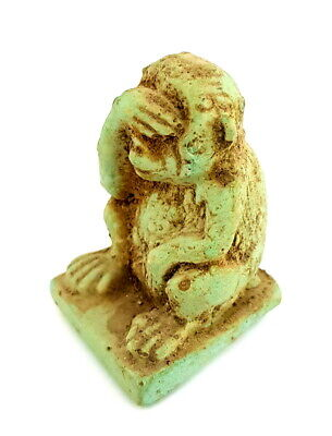 Egyptian Antique Necklace Baboon Stone Rare Monkey Figurine Amulet Pendant Charm