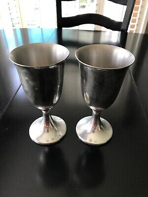 "Vintage Set Of 2 Revere Pewter Wine Water Goblets Chalice Cups 6"" Tall Stamped"