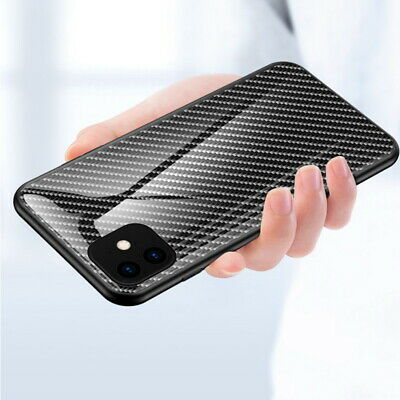 For iPhone 11 Pro Max XS XR X 8 Carbon Fiber Gradient Tempered Glass Case Cover