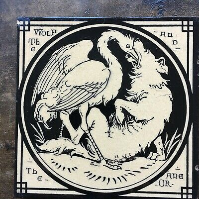 MINTON'S TILE. c1872 The Wolf and the Crane