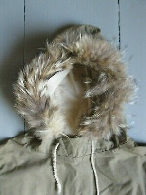 Vintage WWII Era US Navy Army Foul Weather Mountain Fur Trimmed LARGE Deck Coat