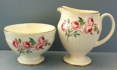Vintage Carlton Ware Sugar Bowl And Milk/Creamer Set For Coffee ~ Pink Roses