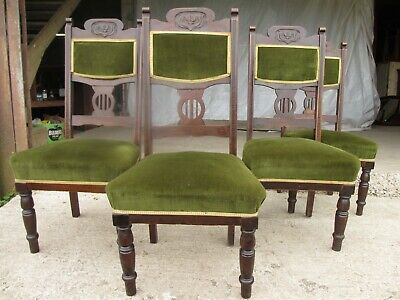 Four Victorian mahogany Art Nouveau dining chairs (ref 696)