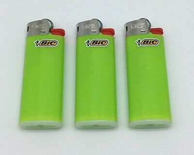 3x  Genuine Bic Mini Gas Cigarette Lighter Lime Green Solid Colours