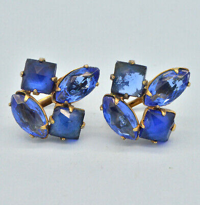 Vintage Earrings 1930s Blue Crystal Goldtone Screw Backs Bridal Jewellery
