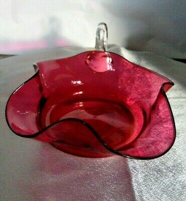 Antique English Cranberry / Ruby Glass Candy Compote Bowl