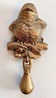 Vintage Cast Iron Gold Brass Door Knocker Bird Branch Signed Carruth 7.25'""