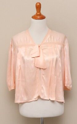 Vintage 1930-40s Womens Peach Rayon Bed Jacket