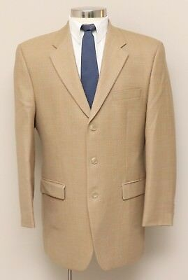 Mens 42L Ralph Lauren Tan Herringbone Blue Check 100% Wool Blazer