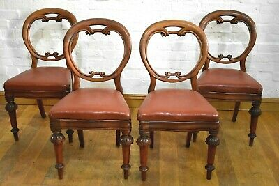 Antique Victorian carved balloon back dining chairs x 4