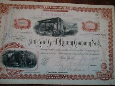 1887 State Line Gold Mining Company  Stock Certificate - Esmeraldo County Nevada