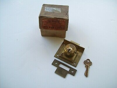 "Antique New old stock 1898 EAGLE LOCK CO 2"" Latch Bolt drawer  Lock w/ Key USA"
