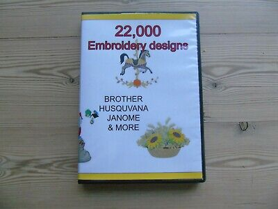 22,000 Collection Embroidery Designs files patterns PES JEF HUS format on DVD
