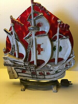 Vintage Ship Cast Iron Painted Galleon Stained Glass 10.5 X 12 Table Lamp.