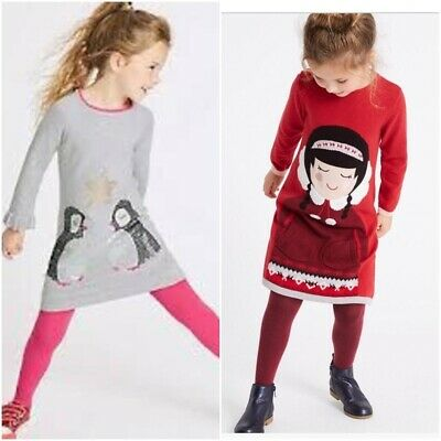 M&S Xmas knitted dress and tights set....AGE 3-6mth, 6-9mth...BNWT...RRP £20