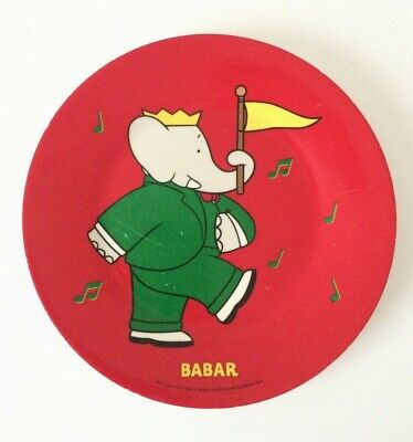 Vintage Petit Jour Paris Babar the Elephant Melamine Plate 2006 | Red