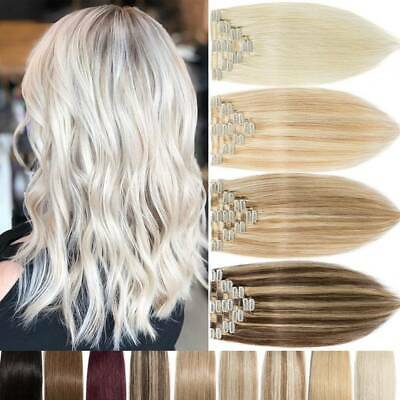 Blonde Russian Remy Clip In 100% Human Hair Extensions Full Head Real LONG-SHORT
