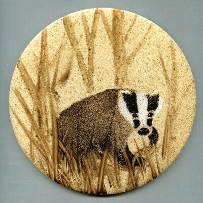 "Stencilled 6""dia tile designed by Geoff Beeston, Badger Pottery, 1986"