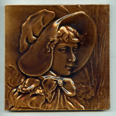 "Relief moulded 6""sq portrait tile by George Woolliscroft & Son, c1885"