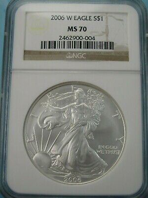 2006 W American Silver Eagle Ngc Ms70 Brown Label West Point Mint #004