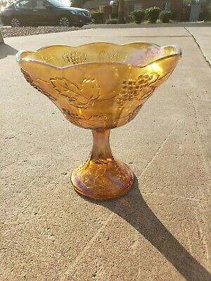 Vintage Fenton Imperial Carnival Glass Footed Pedestal Fruit Bowl Harvest Grape