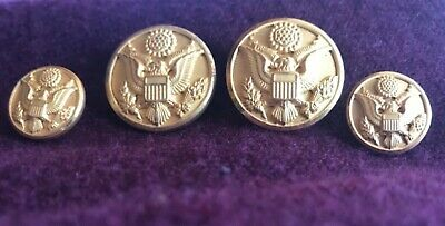 WWII US MILITARY ARMY BRASS BUTTON set - WATERBURY BUTTON Co. Conn.