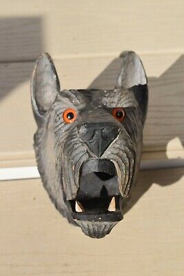 Vintage  Black Forest Carved Wood Scottie Dog Spill Holder Glass Eyes. Good Cond