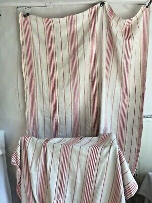 Antique French Ticking Linen Fabric Red White Vintage Home Decor / Projects 108""