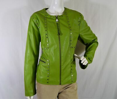 NEW CHI by Falchi Green studded zipper tassel faux leather women's Jacket Sz L