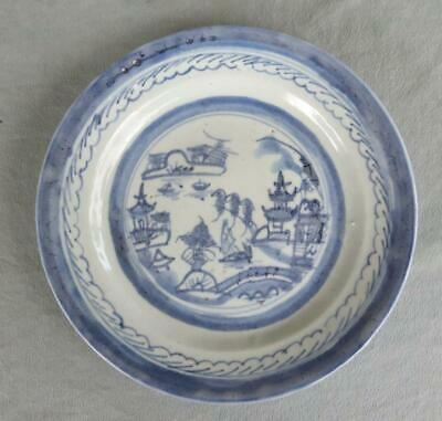 Antique Chinese Export Canton Blue & White Plate
