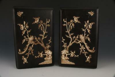 Pair of Chinese Zitan Inlay Boxes.