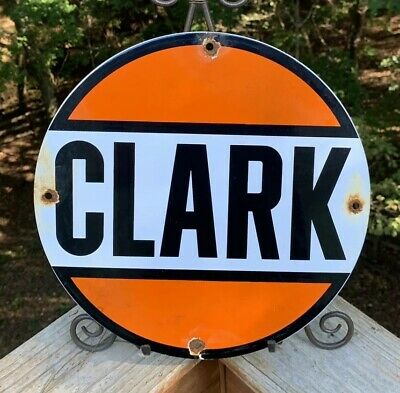 Vintage Clark Gasoline Porcelain Gas Motor Oil Service Station Pump Plate Sign