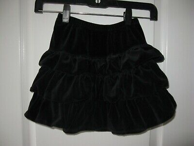Hanna Andersson Tiered Ruffle Velour black Skirt 120 EUC