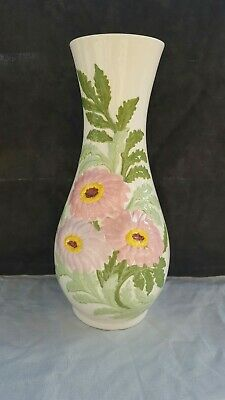 "Ceramic Handmade & Handpainted Signed Floral 10"" Vase - Holland Mold W.S. 10/62"