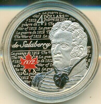 2013 'Charles-Michel De Salaberry - Heroes of 1812' Proof $4 Silver Coin .9999