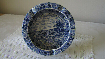Vintage Grand Canyon National Park Arizona Souvenir Ashtray Blue Floral 7""